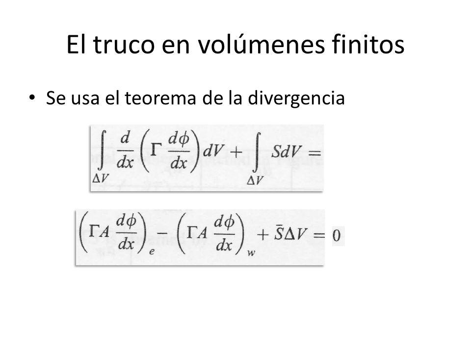 El truco en volúmenes finitos