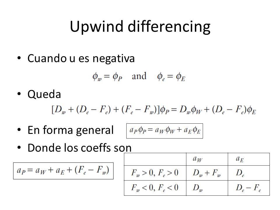 Upwind differencing Cuando u es negativa Queda En forma general