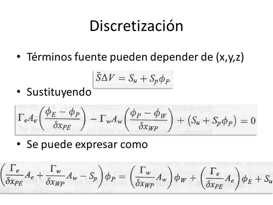 Discretización Términos fuente pueden depender de (x,y,z) Sustituyendo