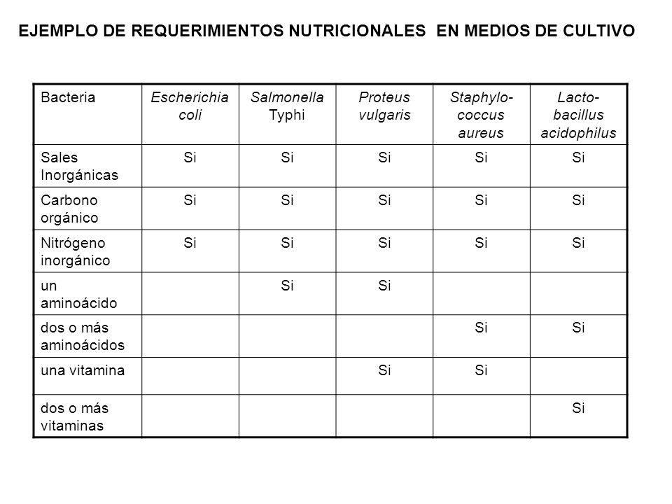 EJEMPLO DE REQUERIMIENTOS NUTRICIONALES EN MEDIOS DE CULTIVO