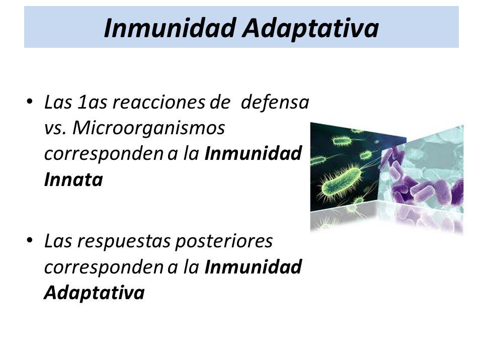Inmunidad Adaptativa Las 1as reacciones de defensa vs. Microorganismos corresponden a la Inmunidad Innata.