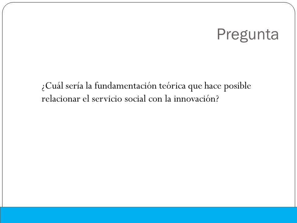 Pregunta ¿Cuál sería la fundamentación teórica que hace posible relacionar el servicio social con la innovación