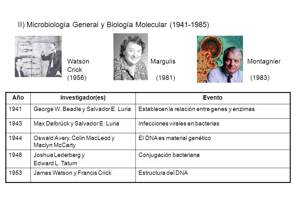 II) Microbiología General y Biología Molecular (1941-1985)
