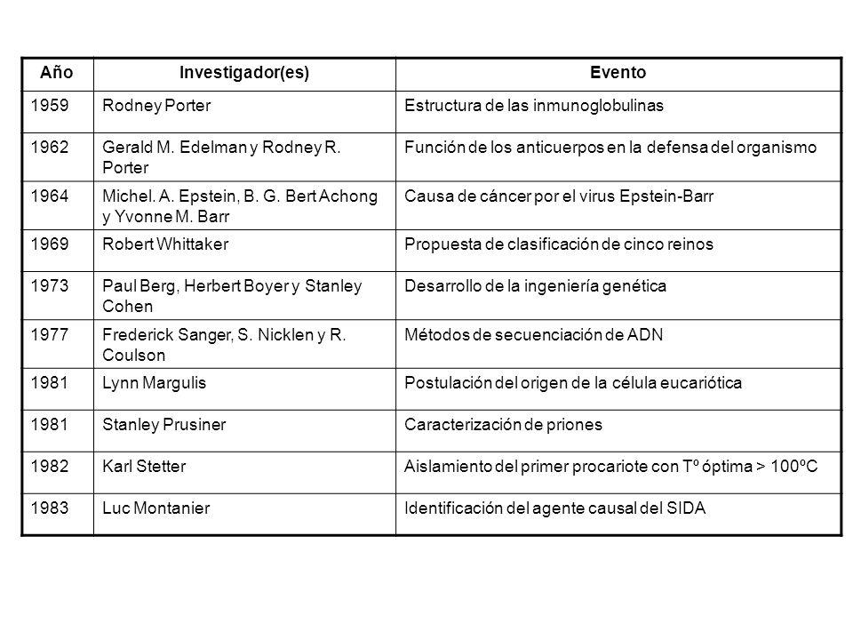 Año Investigador(es) Evento. 1959. Rodney Porter. Estructura de las inmunoglobulinas. 1962. Gerald M. Edelman y Rodney R. Porter.