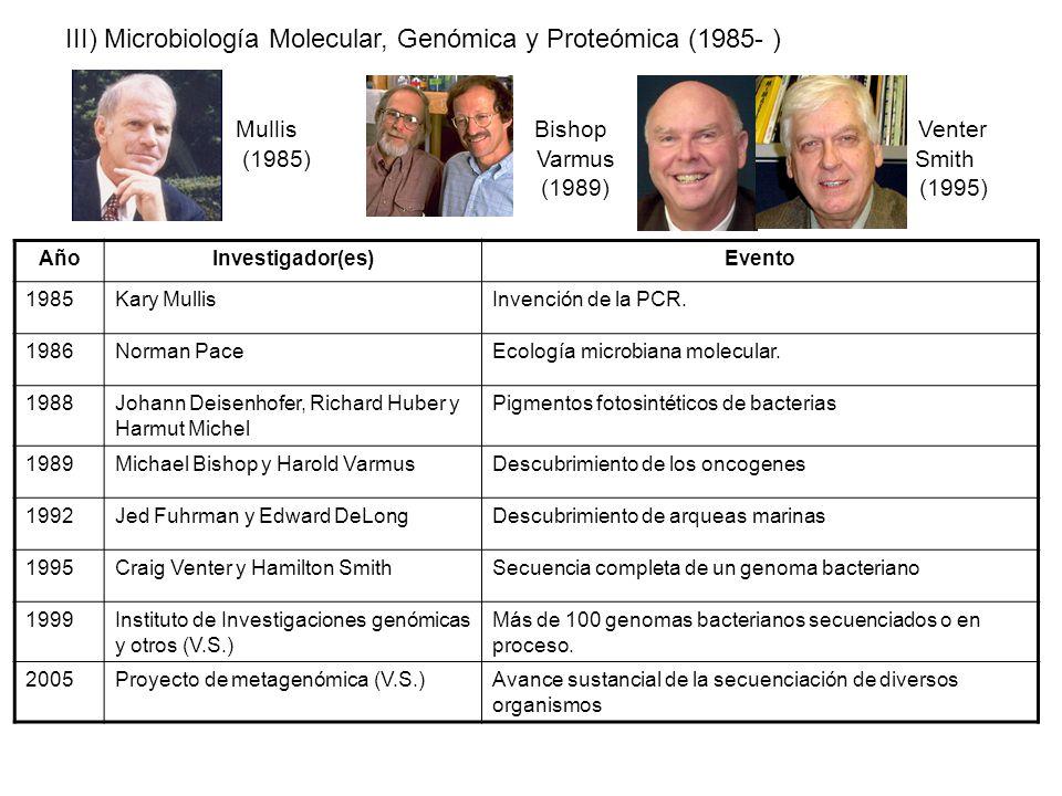 III) Microbiología Molecular, Genómica y Proteómica (1985- )