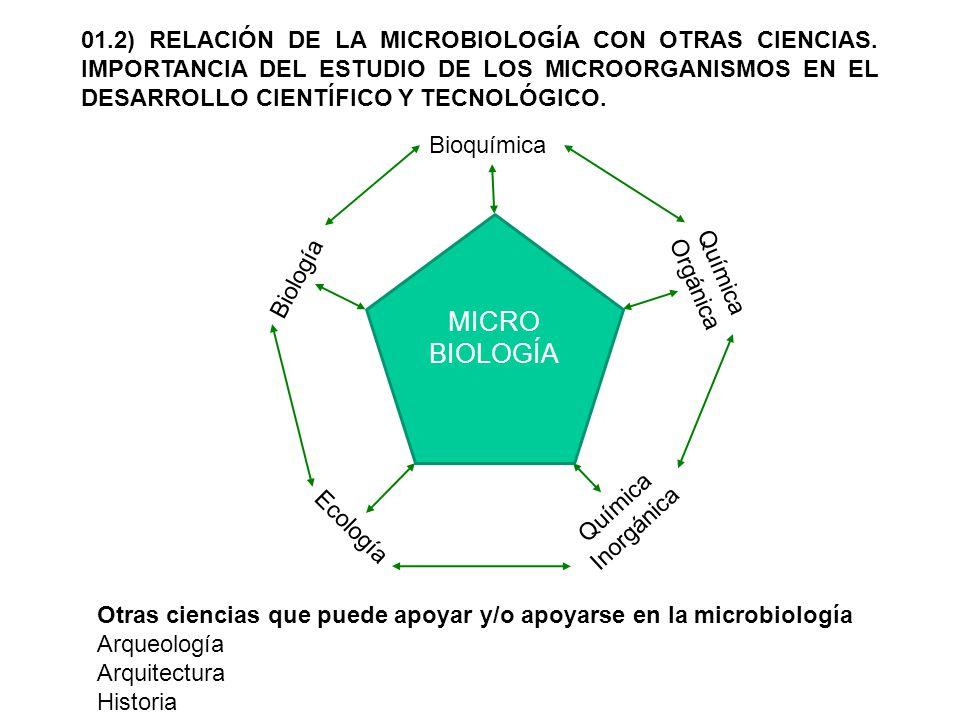 01. 2) RELACIÓN DE LA MICROBIOLOGÍA CON OTRAS CIENCIAS
