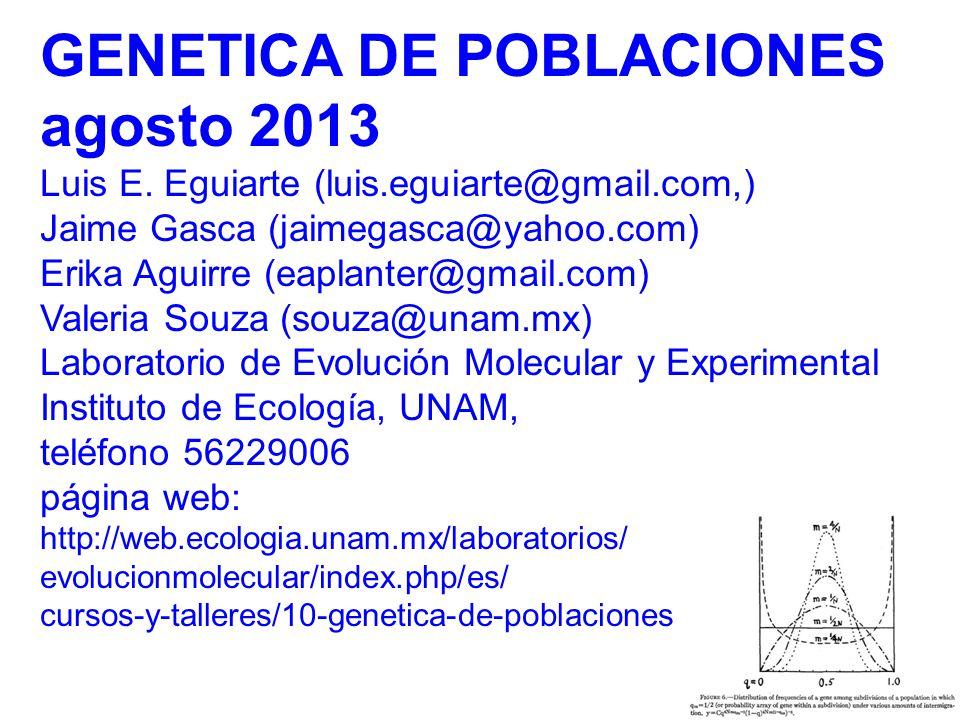 GENETICA DE POBLACIONES agosto 2013
