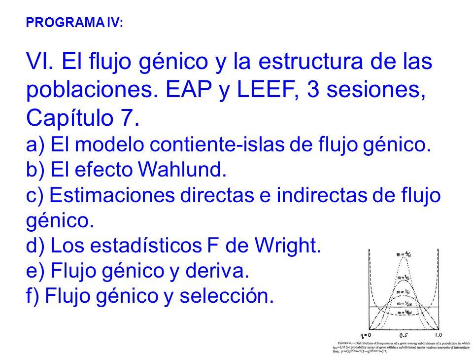 PROGRAMA IV: VI. El flujo génico y la estructura de las poblaciones. EAP y LEEF, 3 sesiones, Capítulo 7.