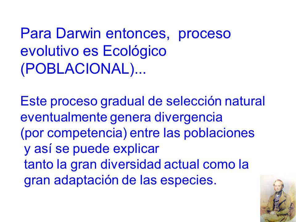 Para Darwin entonces, proceso evolutivo es Ecológico (POBLACIONAL)...