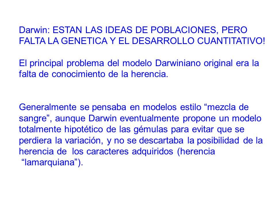 Darwin: ESTAN LAS IDEAS DE POBLACIONES, PERO FALTA LA GENETICA Y EL DESARROLLO CUANTITATIVO!