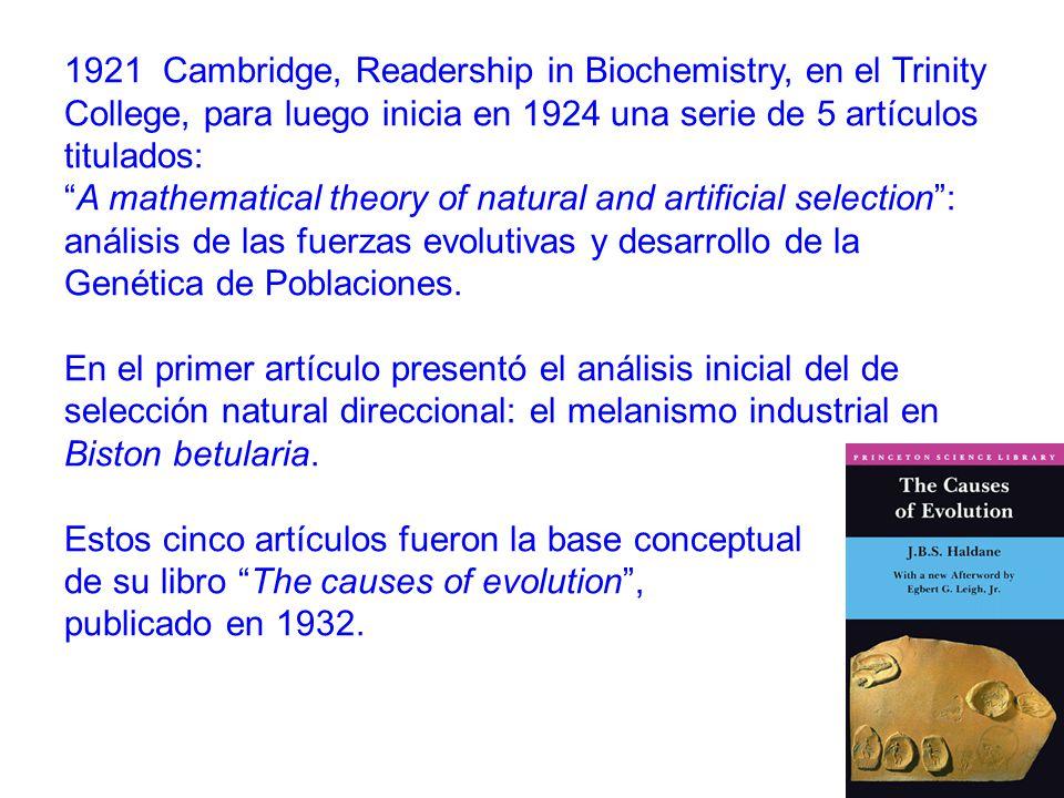 1921 Cambridge, Readership in Biochemistry, en el Trinity College, para luego inicia en 1924 una serie de 5 artículos titulados:
