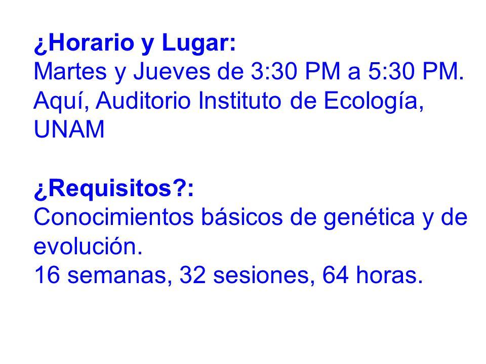 ¿Horario y Lugar: Martes y Jueves de 3:30 PM a 5:30 PM. Aquí, Auditorio Instituto de Ecología, UNAM.