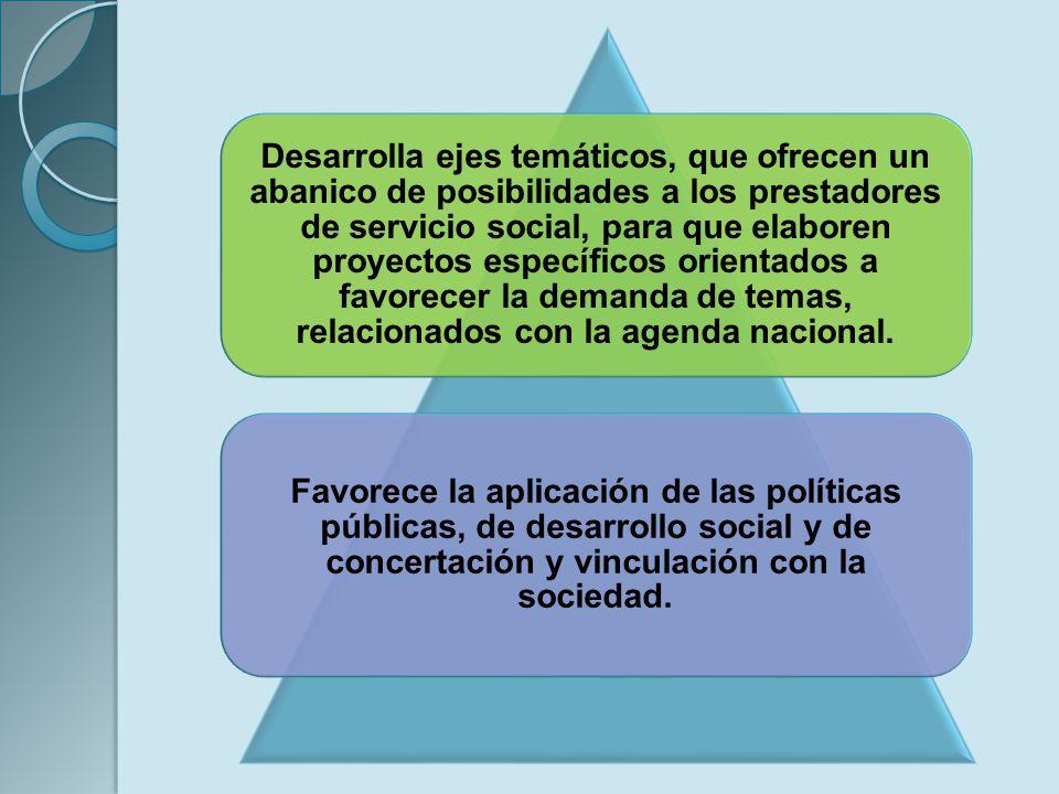 Desarrolla ejes temáticos, que ofrecen un abanico de posibilidades a los prestadores de servicio social, para que elaboren proyectos específicos orientados a favorecer la demanda de temas, relacionados con la agenda nacional.