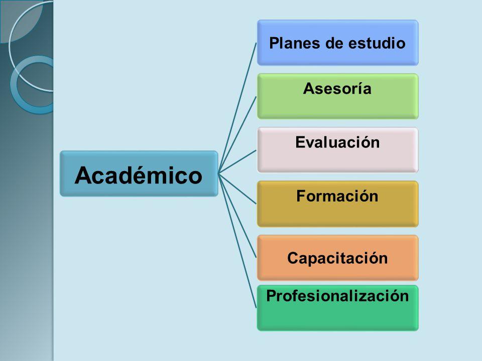 Académico Planes de estudio Asesoría Evaluación Formación Capacitación