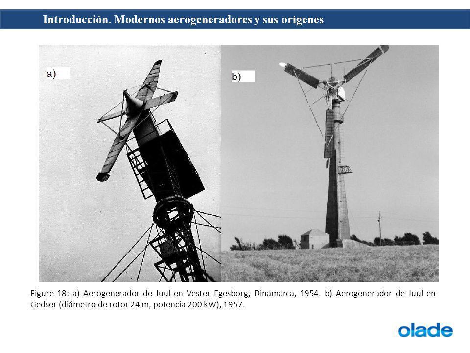 Figure 18: a) Aerogenerador de Juul en Vester Egesborg, Dinamarca, 1954.