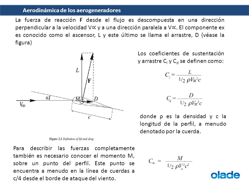 La fuerza de reacción F desde el flujo es descompuesta en una dirección perpendicular a la velocidad V∝ y a una dirección paralela a V∝. El componente ex es conocido como el ascensor, L y este último se llama el arrastre, D (véase la figura)