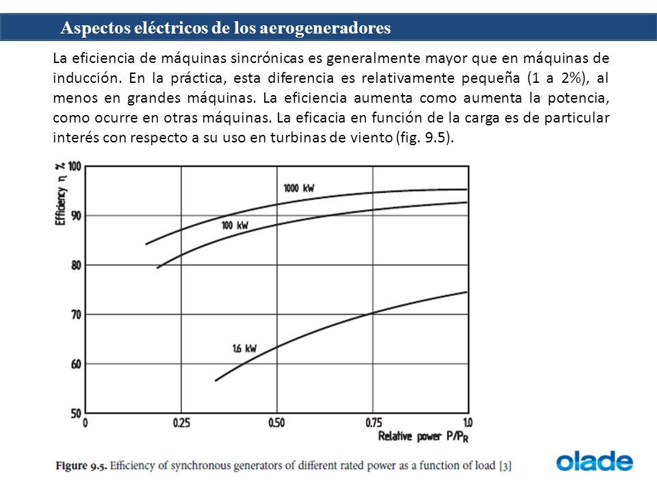 La eficiencia de máquinas sincrónicas es generalmente mayor que en máquinas de inducción.
