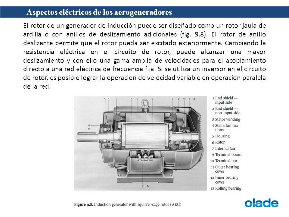 El rotor de un generador de inducción puede ser diseñado como un rotor jaula de ardilla o con anillos de deslizamiento adicionales (fig.