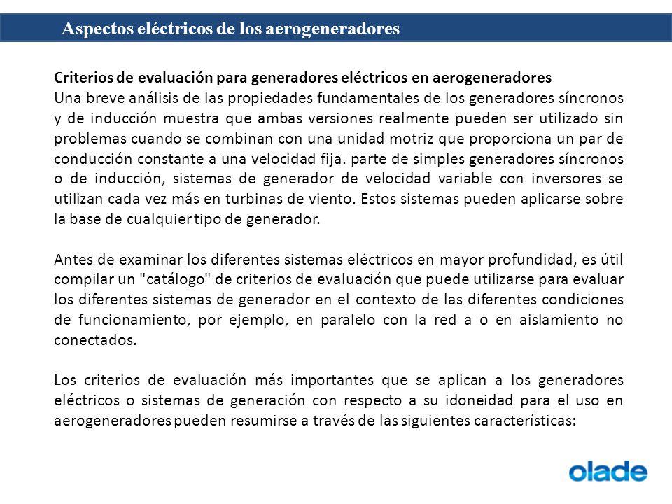 Criterios de evaluación para generadores eléctricos en aerogeneradores