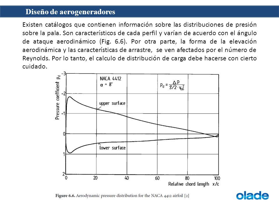 Existen catálogos que contienen información sobre las distribuciones de presión sobre la pala.