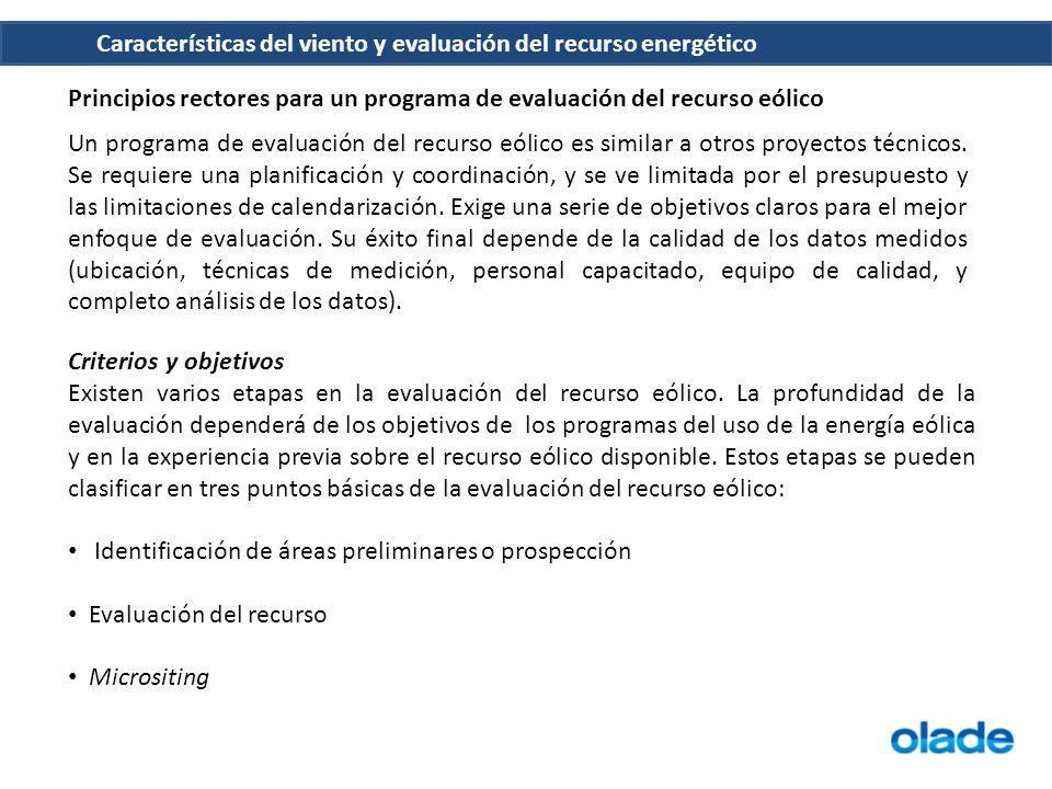 Principios rectores para un programa de evaluación del recurso eólico