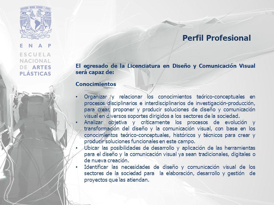 Perfil Profesional El egresado de la Licenciatura en Diseño y Comunicación Visual será capaz de: Conocimientos.