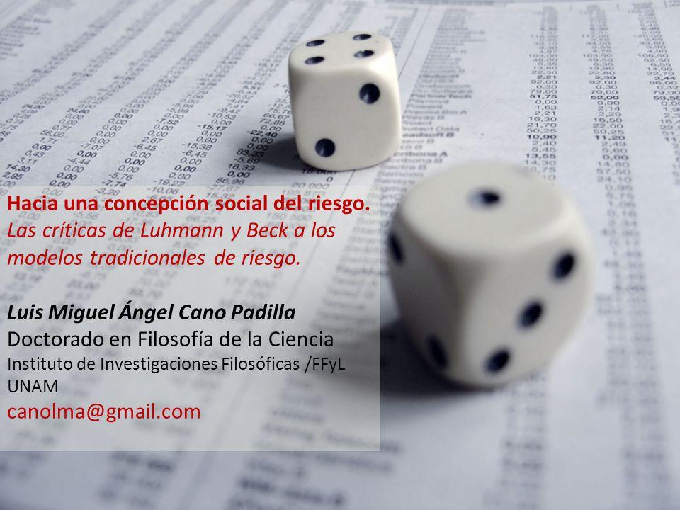 Hacia una concepción social del riesgo.