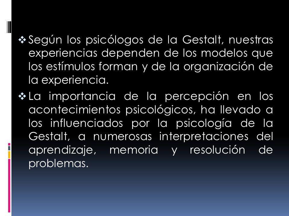 Según los psicólogos de la Gestalt, nuestras experiencias dependen de los modelos que los estímulos forman y de la organización de la experiencia.