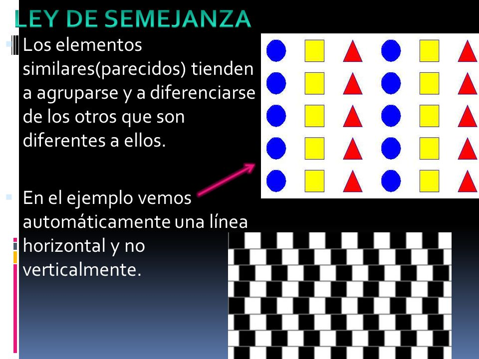 LEY DE SEMEJANZA Los elementos similares(parecidos) tienden a agruparse y a diferenciarse de los otros que son diferentes a ellos.