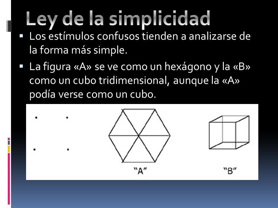 Ley de la simplicidad Los estímulos confusos tienden a analizarse de la forma más simple.