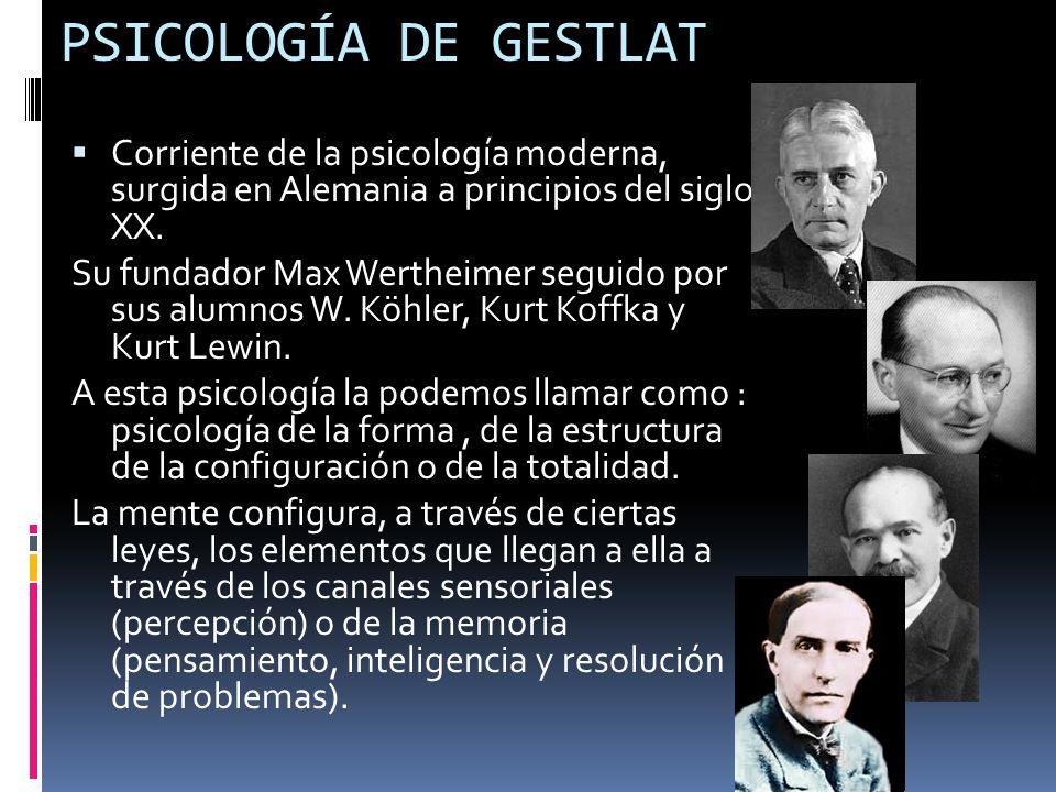 PSICOLOGÍA DE GESTLAT Corriente de la psicología moderna, surgida en Alemania a principios del siglo XX.