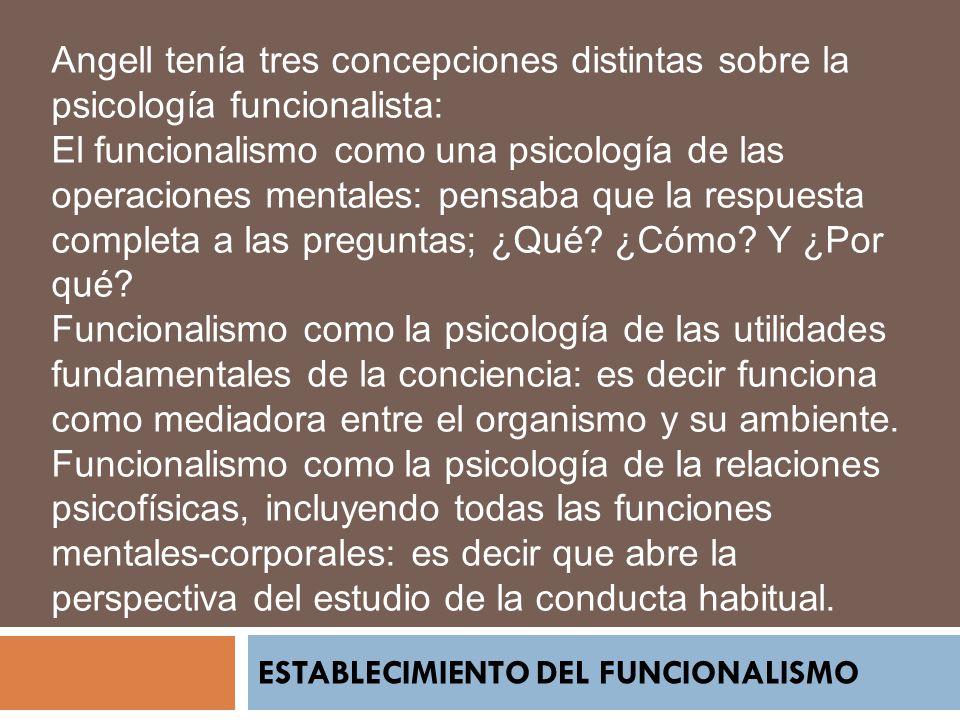 ESTABLECIMIENTO DEL FUNCIONALISMO