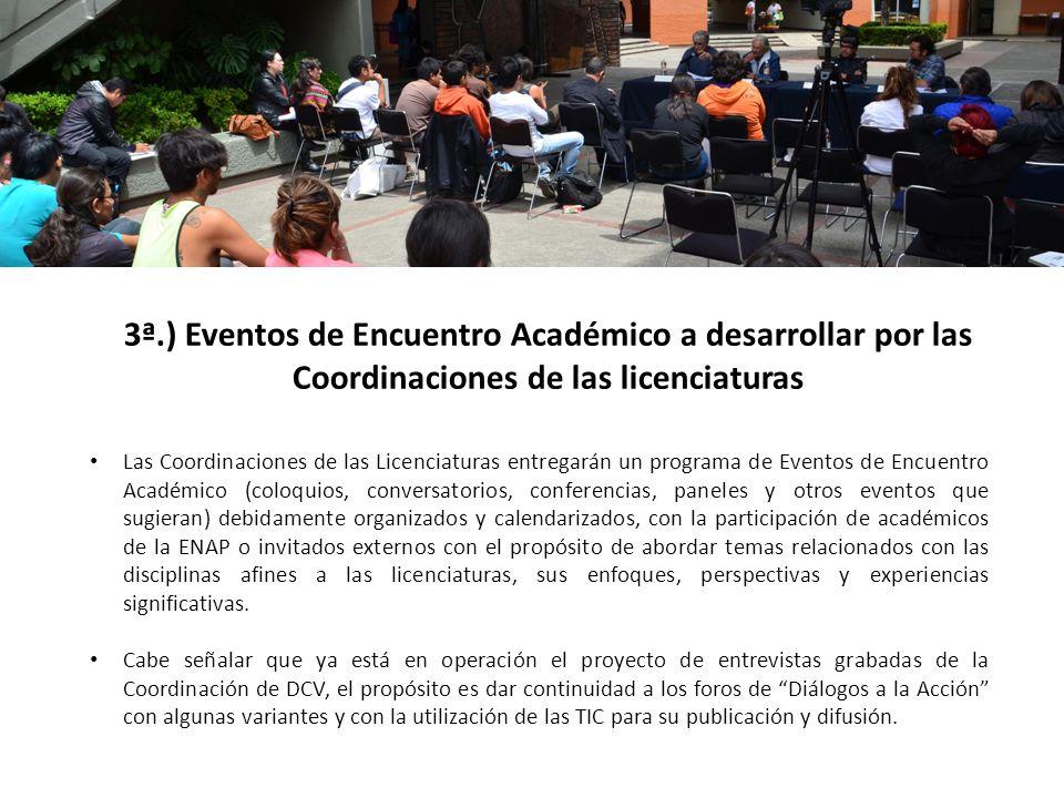 3ª.) Eventos de Encuentro Académico a desarrollar por las Coordinaciones de las licenciaturas