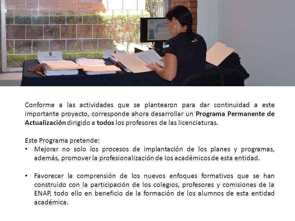 Conforme a las actividades que se plantearon para dar continuidad a este importante proyecto, corresponde ahora desarrollar un Programa Permanente de Actualización dirigido a todos los profesores de las licenciaturas.