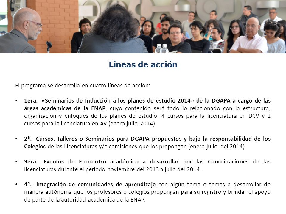 Líneas de acción El programa se desarrolla en cuatro líneas de acción: