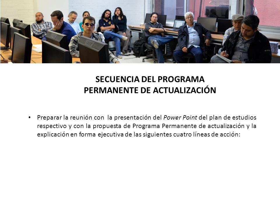 SECUENCIA DEL PROGRAMA PERMANENTE DE ACTUALIZACIÓN