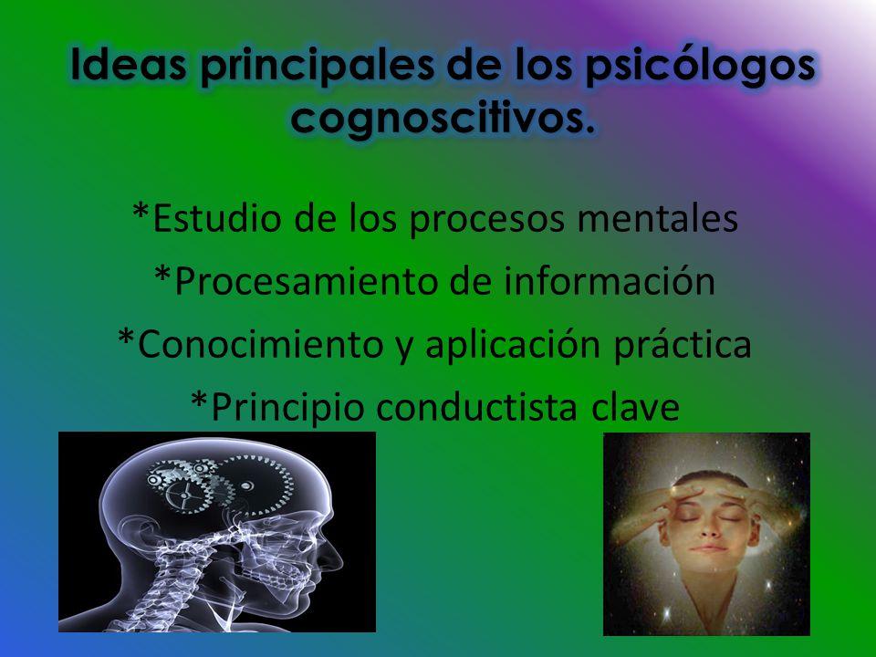 Ideas principales de los psicólogos cognoscitivos.