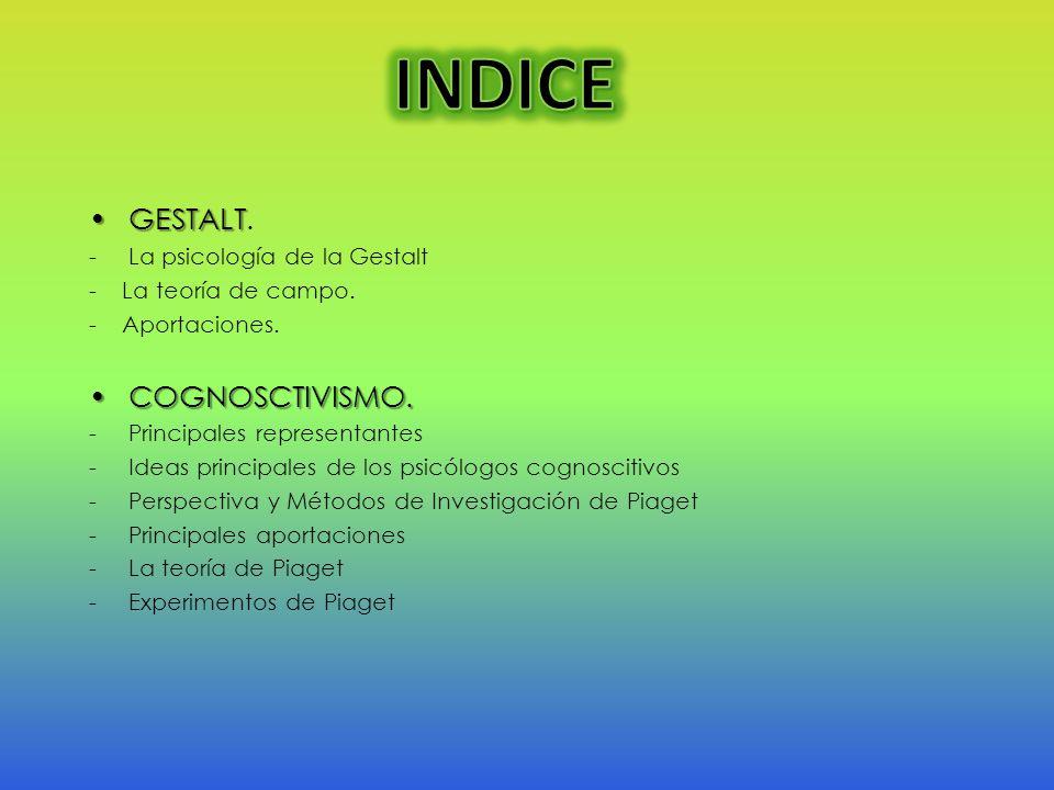 INDICE GESTALT. COGNOSCTIVISMO. La psicología de la Gestalt