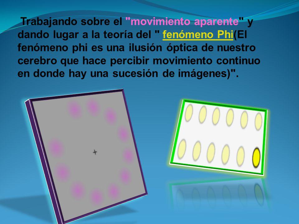 Trabajando sobre el movimiento aparente y dando lugar a la teoría del fenómeno Phi(El fenómeno phi es una ilusión óptica de nuestro cerebro que hace percibir movimiento continuo en donde hay una sucesión de imágenes) .