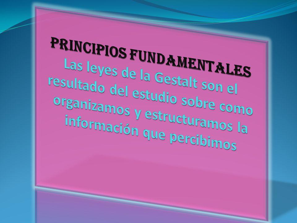 PRINCIPIOS FUNDAMENTALES Las leyes de la Gestalt son el resultado del estudio sobre como organizamos y estructuramos la información que percibimos