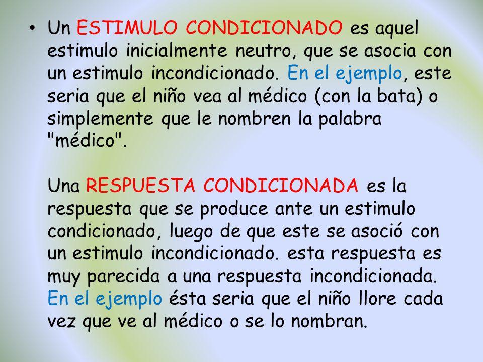 Un ESTIMULO CONDICIONADO es aquel estimulo inicialmente neutro, que se asocia con un estimulo incondicionado.