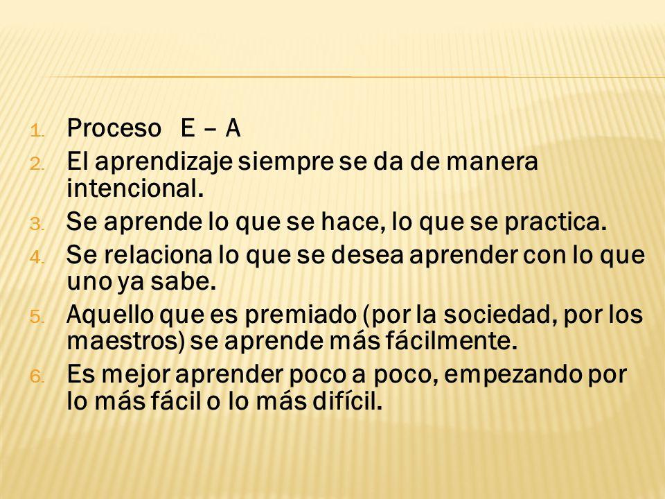 Proceso E – A El aprendizaje siempre se da de manera intencional. Se aprende lo que se hace, lo que se practica.