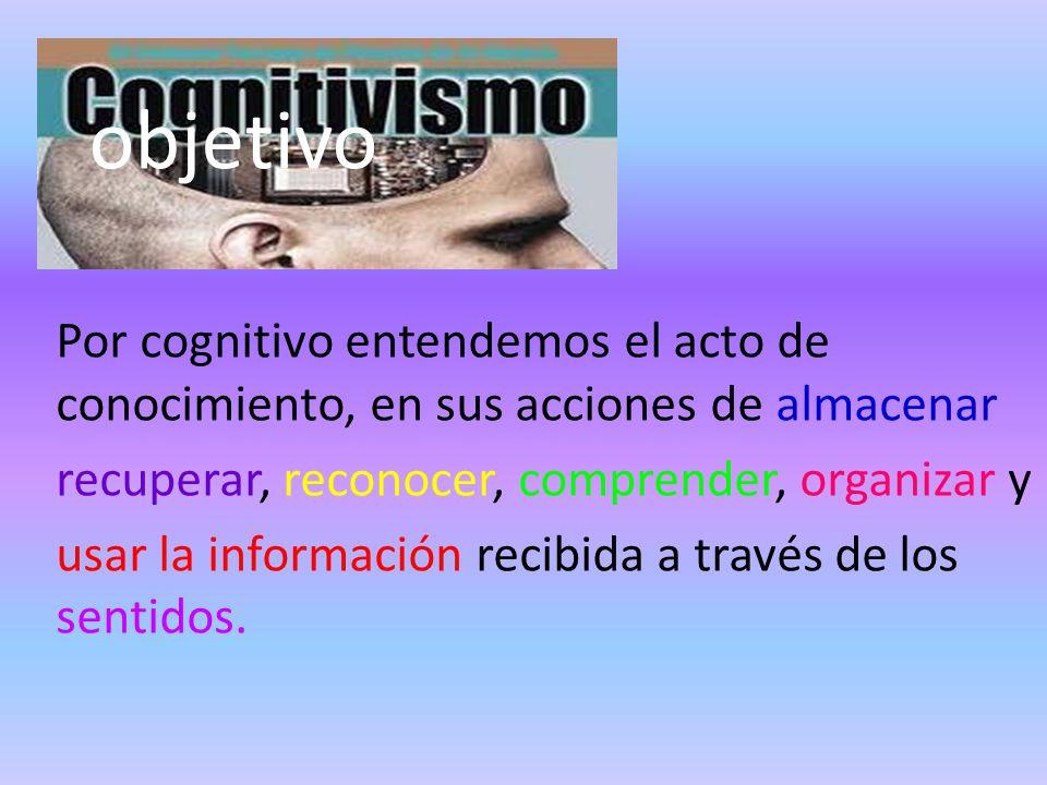 objetivo Por cognitivo entendemos el acto de conocimiento, en sus acciones de almacenar. recuperar, reconocer, comprender, organizar y.