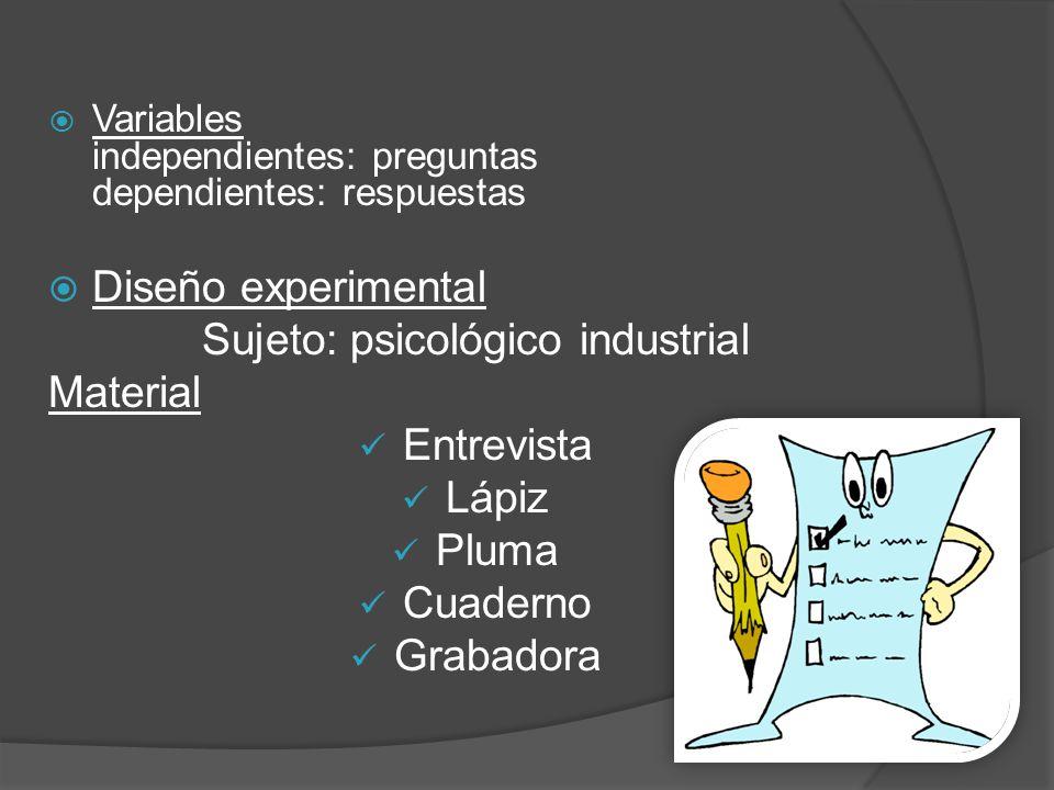 Sujeto: psicológico industrial