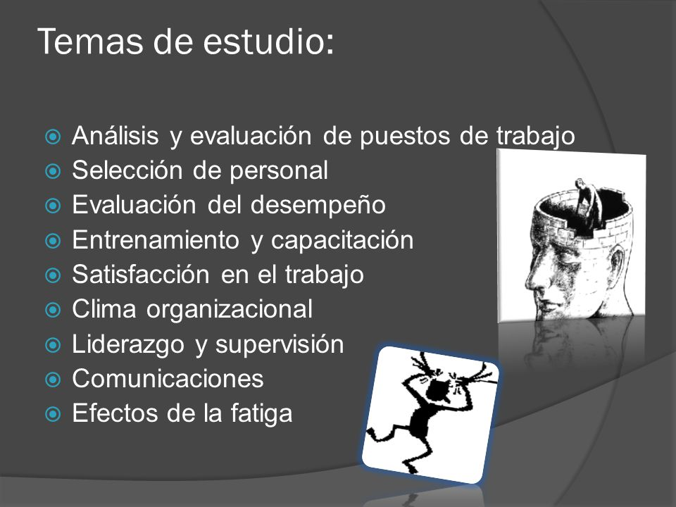 Temas de estudio: Análisis y evaluación de puestos de trabajo