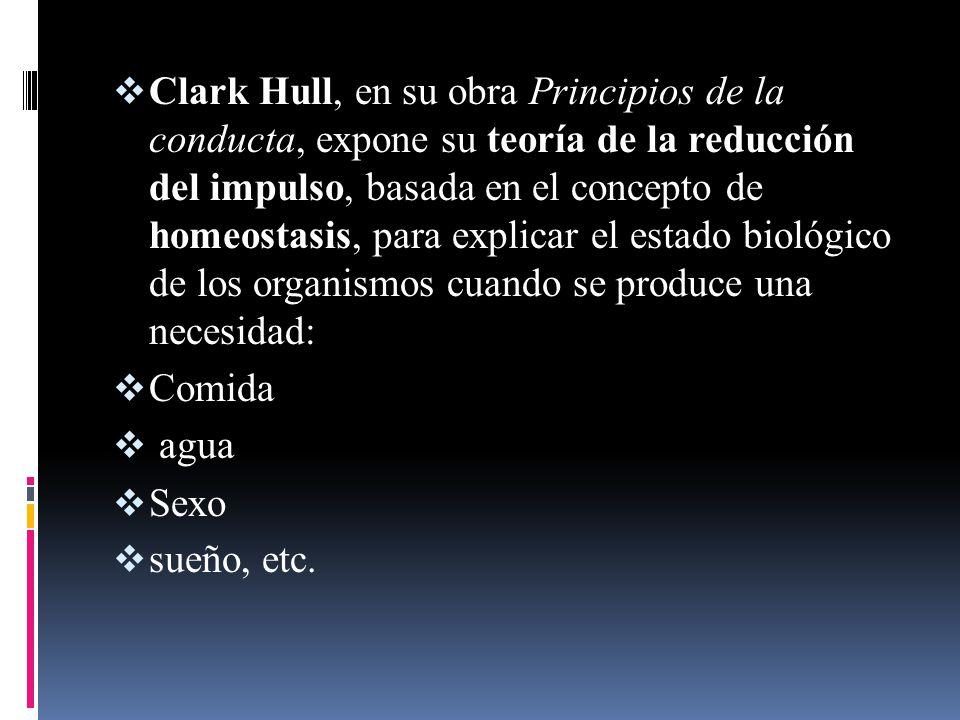 Clark Hull, en su obra Principios de la conducta, expone su teoría de la reducción del impulso, basada en el concepto de homeostasis, para explicar el estado biológico de los organismos cuando se produce una necesidad: