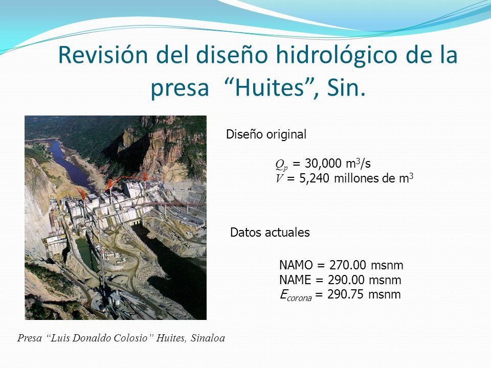 Revisión del diseño hidrológico de la presa Huites , Sin.