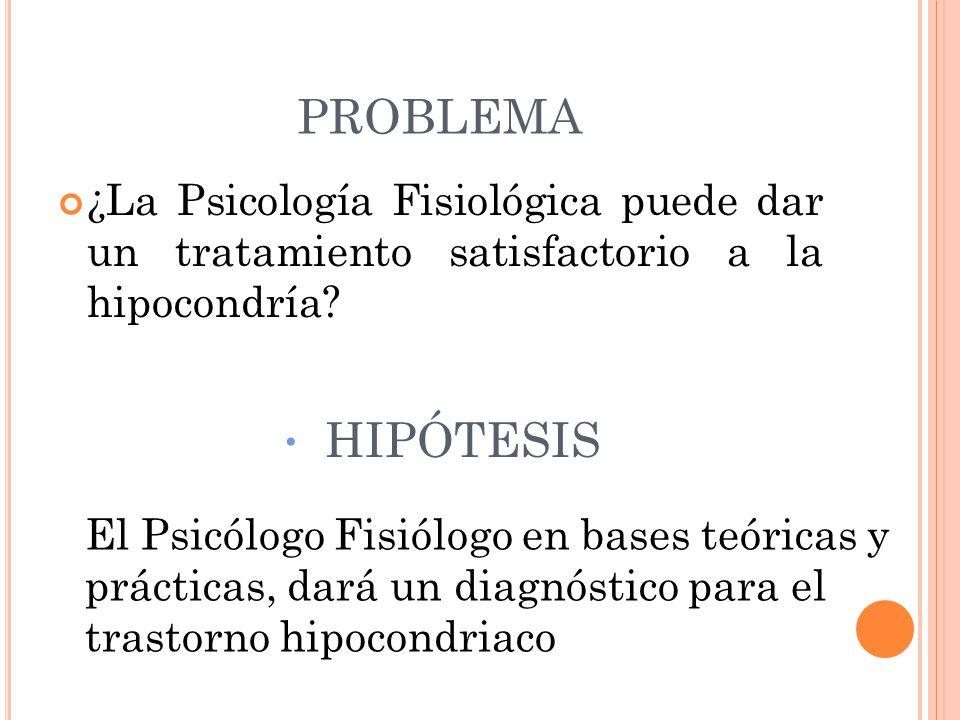PROBLEMA ¿La Psicología Fisiológica puede dar un tratamiento satisfactorio a la hipocondría HIPÓTESIS.