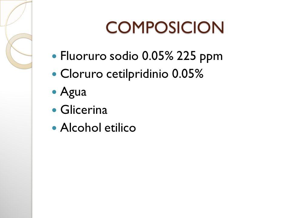 COMPOSICION Fluoruro sodio 0.05% 225 ppm Cloruro cetilpridinio 0.05%