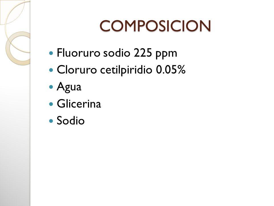 COMPOSICION Fluoruro sodio 225 ppm Cloruro cetilpiridio 0.05% Agua